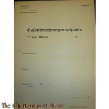 WH/Heer Geldabrechnungsnachweiss Wehrmacht