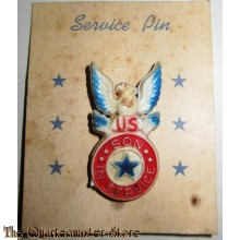 World War II son-in-service pin on original card
