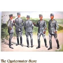 Prent briefkaart mobilisatie no 25 Groep leerlingen Scholen voor reserveofficieren n.l. der Infanterie, Cavalerie Bereden- en Onbereden artillerie