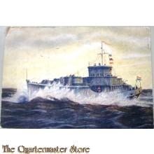 Prent briefkaart 1940 een onzer mijnenvegers in volle zee