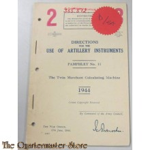 Pamphlet No 11 Use of Artillery instruments, the Twin Marchant calculating machine