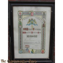 Ingelijst getuigschrift RK MIlitair vereniging rond 1910