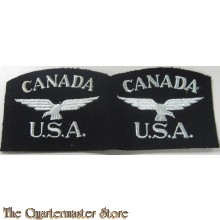 Original rare RAF CANADA USA badge original uncut pair Eagle squadron 2 •