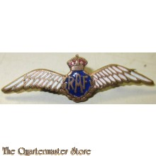 WW2 Royal Air Force Pilot's Wing RAF Silver & Enamel Sweetheart Brooch
