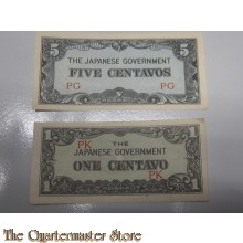 Banknotes one and five Centavo Japanese Government