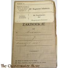 Oorlogszakboekje 20e Regiment Infanterie 20 Depot Bataljon Staf