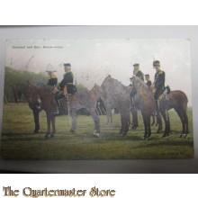 Prent briefkaart 1914 no 5 Generaal met staf, groote tenue