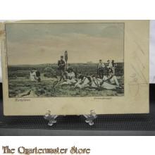 Prent briefkaart 1905 Kampleven Schietoefeningen