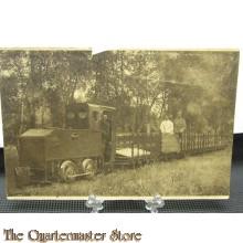 Prent briefkaart  mobilisatie 1914 Harskamp, goederentreintje