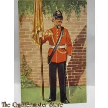 Prent briefkaart Dept van Defensie 1949 no 9 Cer tenue vaandeldrager Prinses Irene