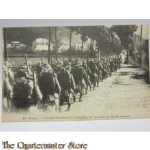 Carte Postale 1914 En Alsac collone Infanterie Francais sur la route de Saint-Amarin