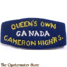 Shoulder title Queens own Cameron Highrs, 3rd Canadian Division
