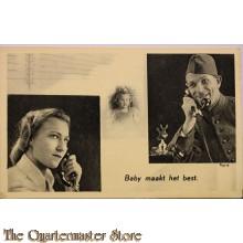 Prent briefkaart mobilisatie 1940 Baby maakt het best