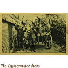 Prent briefkaart mobilisatie 1940 Met ons paard en onzen wagen Zullen wij iedere vijand verjagen