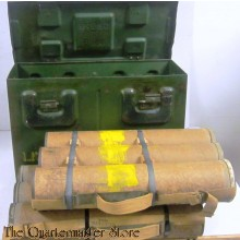 3-Inch SMOKE Mortar Bomb Box with 2 Canadian 3inch mortar tube carriers (empty)