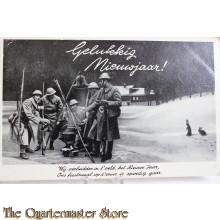 Prent briefkaart mobilisatie 1940 Gelukkig nieuwjaar Wij verbeidden in 't veld het Nieuwe Jaar , Ons feestmaal op 't vuur is spoedig gaar