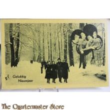 Prent briefkaart mobilisatie 1940 Gelukkig Nieuwjaar 4 meisjes en 4 soldaten
