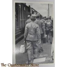 Prent briefkaart mobilisatie 1939 Ik kom trein rij soldaten