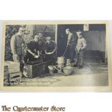 Prent briefkaart mobilisatie 1939 in water wasschen