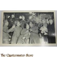 Prent briefkaart mobilisatie 1939 GN proostend overjas