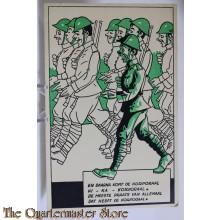 Prent briefkaart  mobilisatie 1940 Daarna komt de korporaal