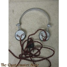 SG Brown Headphones Type F Aluminium earpieces casings and headbands black earpieces, original twisted flexible leads 2000 ohms (4000 total
