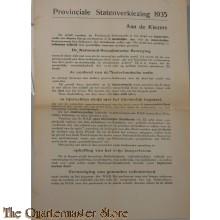 Flyer Provinciale Staten Verkiezing 1935