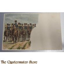 Prent briefkaart mobilisatie 1914 Huzaren te paard