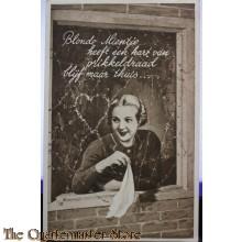 Prent briefkaart  mobilisatie 1940 Blonde Mientje heeft een hart van prikkeldraad blijf maar thuis....