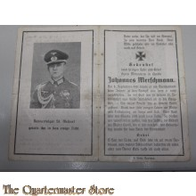 In Memoriam Karte/Death notice 8-09-1941 Oberleutnant
