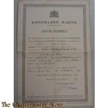 Ontslag brief 15 maart 1919 Kon Marine