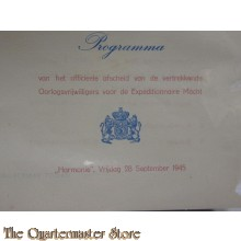 Programma afscheid OVWers 28 sept 1945