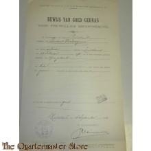 Verklaring goed gedrag voor vrijwilligen militairen dienst 1903