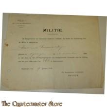 Bewijs van inschrijving Militie Nijmegen 1919