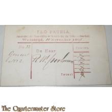 Wedstrijd formulier Pro Patria Amsterdam 10 nov 1867