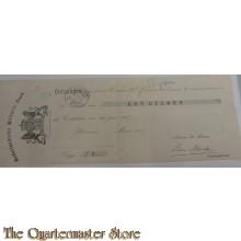 Bewijs van betaling contributie 1907 Ned Militaire Bond