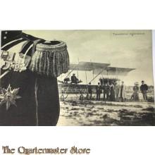 Prent briefkaart 1914 mobilisatie Tweedekker neerdalend