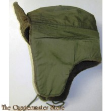 US Army 1950s Korea Era Field Cap Pile Cold Weather Hat Olive Drab