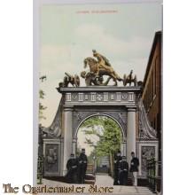Prent briefkaart Leiden Doelenpoort 1910