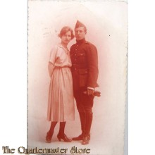 Studio portret 1921 Belgian soldier with wife
