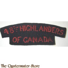 Shoulder title 48th Highlanders of Canada 1st Canadian Armoured Division (handembroided)