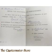 Bewijs van inlevering rijksgoederen milicien Leguit, Gerrit Jan 1940