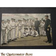 Prent briefkaart 1905 Instructie splitsen en knoopen