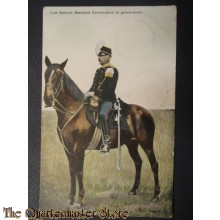 Prent briefkaart 1905 Luit-Kol Batallion commandant in Groote tenue