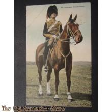 Prent briefkaart 1e Luitenant Groote tenue