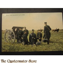Prent briefklaart 1905 Theorie over het geschut op de heide