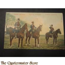 Prent briefkaart Brigadier groot tenue, cavalerist groot tenue, trompettist Marechaussee