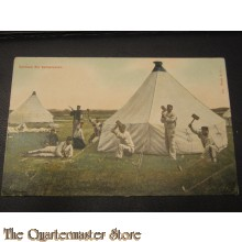 Prent briefkaart 1905 Opslaan der kamptenten