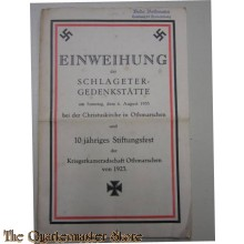Brochure Einweihung Slageter Gedenk statte 6 aug 1933