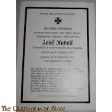 In Memoriam Karte/Death notice Obergefrt Lufwaffen Bau Batt
